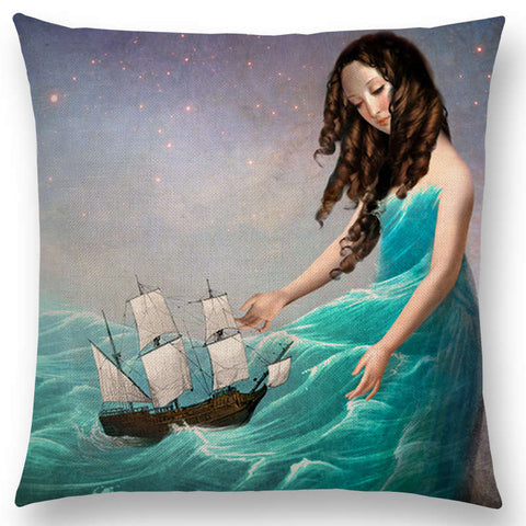 """Eccentric Portrait"" Pillow Covers"