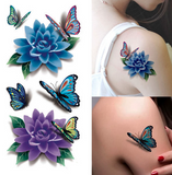3D Blue Point Butterfly Flower Temporary Tattoo