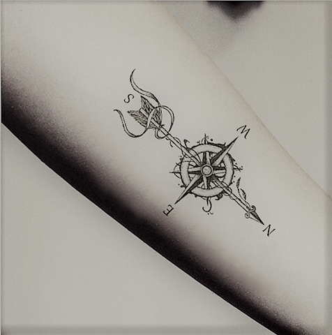 Compass & Arrow Temporary Tattoo