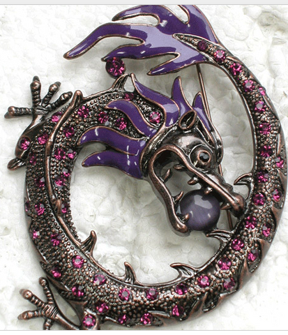 Curled Dragon Brooch