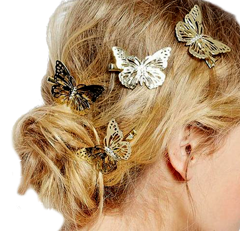 Golden Butterfly Barrettes