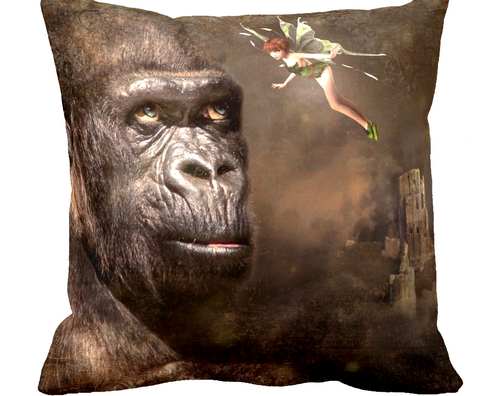 """Ape Meets Fairy"" Pillow Cover"