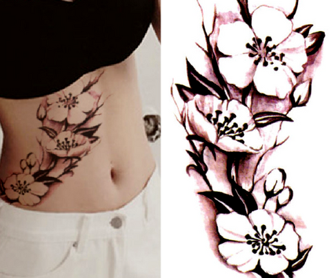 China Ink Flower Tattoo