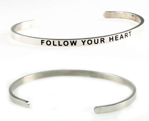 Handmade Stainless Steel Inspirational Quote Bangle
