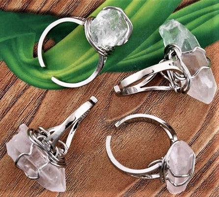 Natural Rock Crystal Wire Wrap Ring