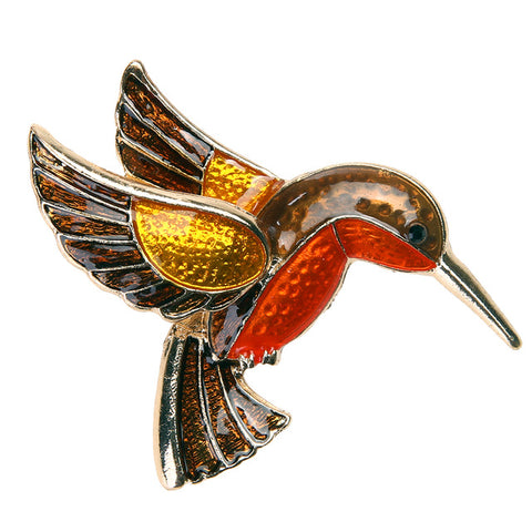 Marigold Hummingbird Brooch--Great Buy!
