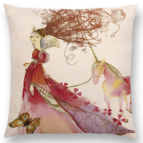 Watercolor Unicorn & Fairytale Cushion Covers