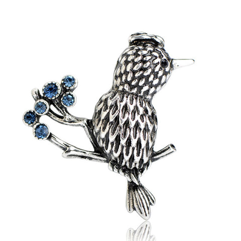 Bird Blueberries Brooch