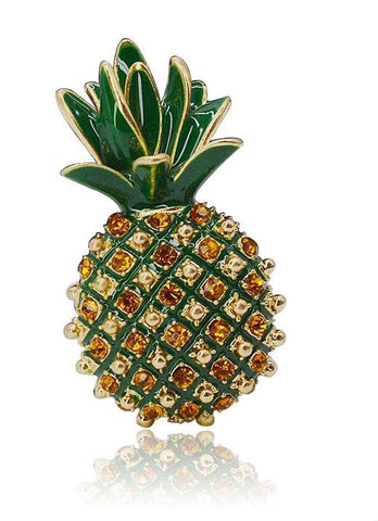 Rhinestone Pineapple Brooch