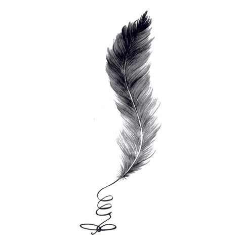 Spiral Feather Temporary Tattoo