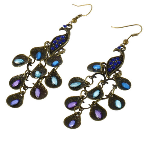 Hanging Peacock Earrings
