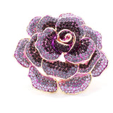 Purple Crystal Rose Brooch Pin