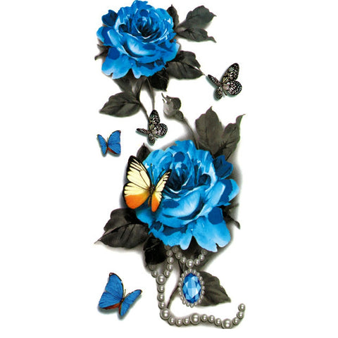 Cobalt Rose & Butterfly Tattoo