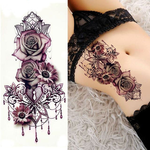 Purple Rose Temporary Tattoo
