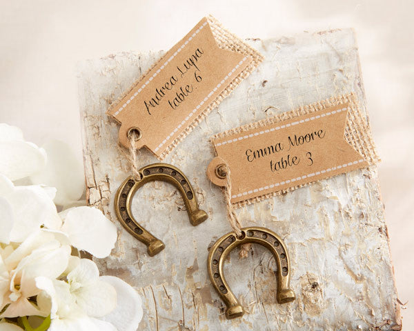 """Lucky in Love"" Horseshoe Place Card Holders (Set of 6)"