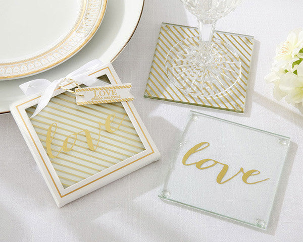 Gold Love Glass Coasters