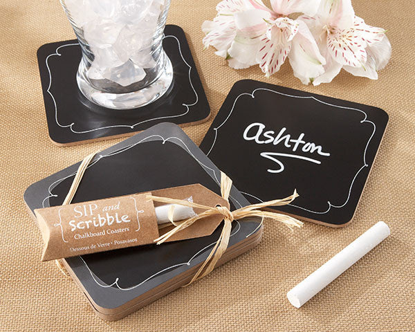 """Sip and Scribble"" Chalkboard Coasters"
