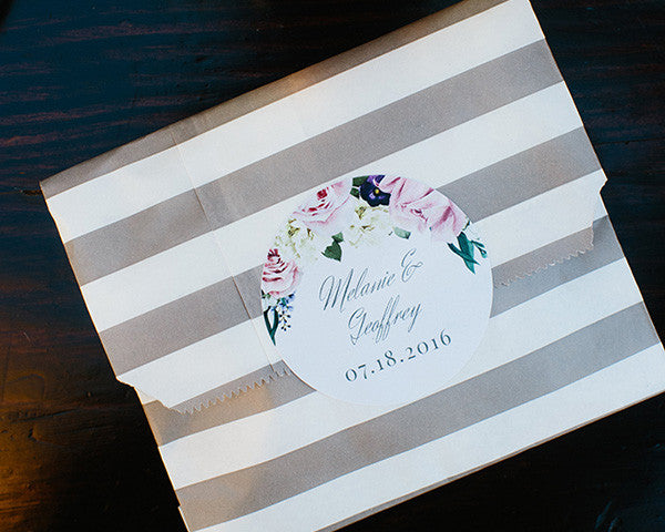Striped Paper Favor Bags - English Garden (Set of 25)