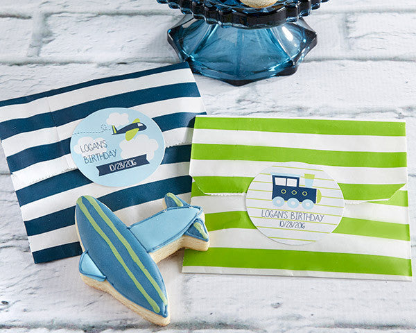 Striped Paper Favor Bags - Precious Cargo (Set of 25)