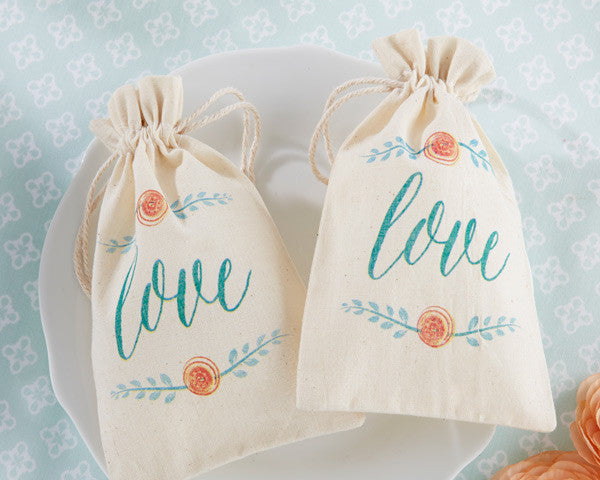 """In Bloom"" Botanical Muslin Favor Bags (Set of 12)"