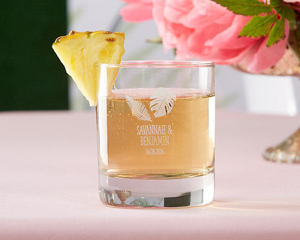 PERSONALIZED 9 OZ. ROCKS GLASSES - PINEAPPLES AND PALMS (36 Minimum)