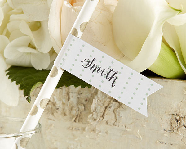 Personalized Party Straw Flags - Kate's Rustic Wedding Collection