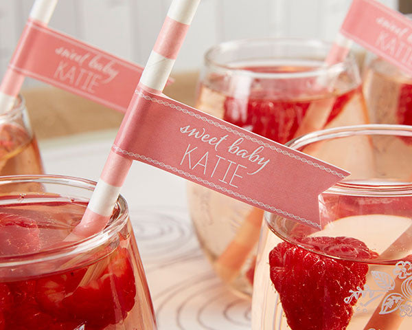 Personalized Party Straw Flags - Kate's Rustic Baby Shower Collection