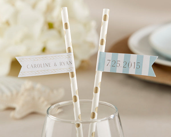Personalized Party Straw Flags - Beach (25 Minimum)