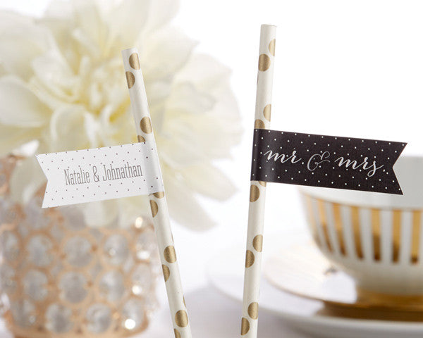 Personalized Party Straw Flags - Mr. & Mrs.
