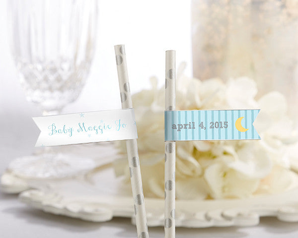 Personalized Party Straw Flags - To the Moon & Back