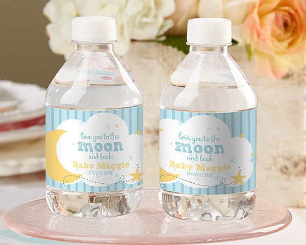 Personalized Water Bottle Labels- To the Moon & Back