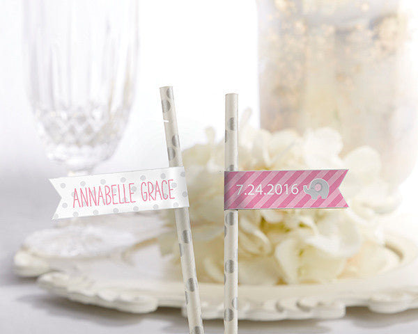 Personalized Party Straw Flags - Little Peanut