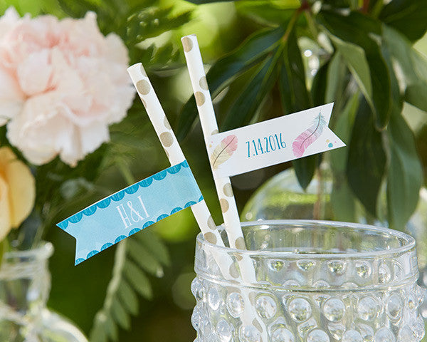Personalized Party Straw Flags - Boho