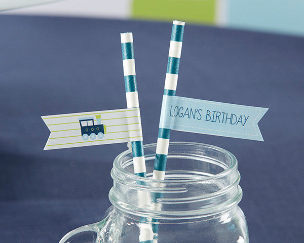 Personalized Party Straw Flags - Precious Cargo