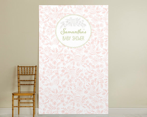 Personalized Photo Booth Backdrop - Kate's Rustic Baby Shower Collection - Flowers