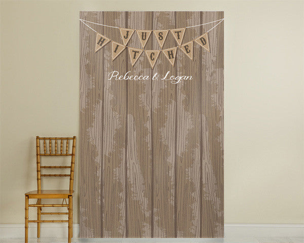 "Personalized ""Just Hitched"" Photo Backdrop"