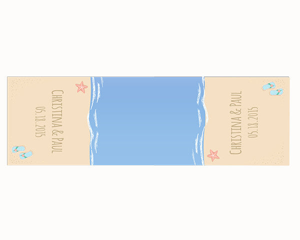 Personalized Beach Table Runner - Flip Flops and Starfish (Multiple Sizes Available)
