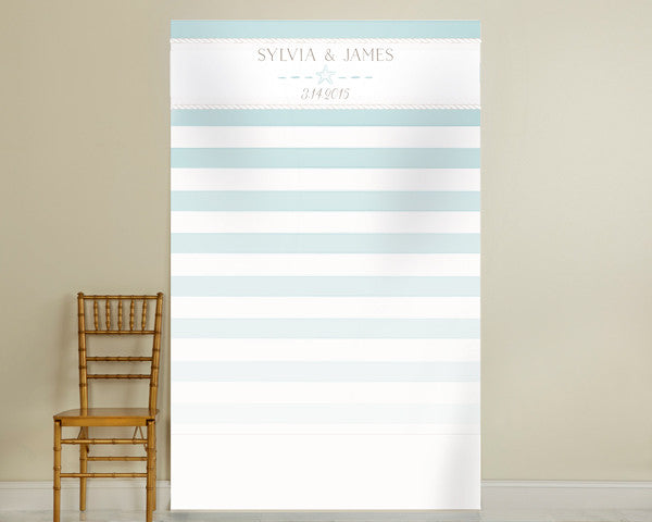 Personalized Photo Backdrop - Beach Tides Stripe