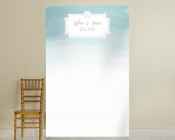 Personalized Photo Backdrop - Beach Aqua Watercolor