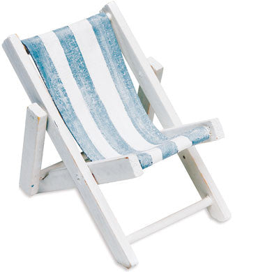 Mini Blue And White Striped Deck Chairs Beach Favor (Set of 8)