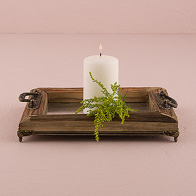 Rustic Wood Decorative Tray With Ornamental Handles