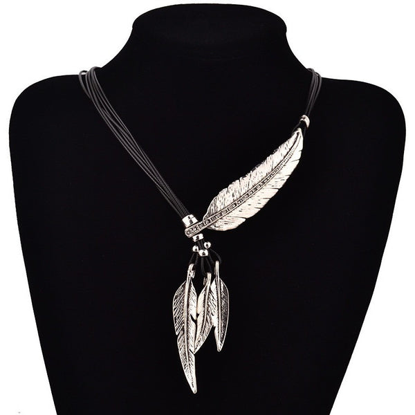 Bohemian Style Black Rope Chain Feather Necklace