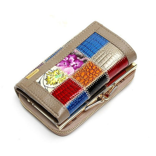 Genuine Leather Women Wallets Patchwork with Hasp