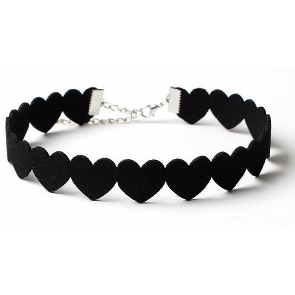 Black  Velvet Heart Choker