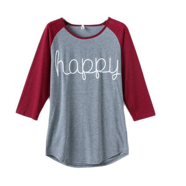 Happy Letter Printed T-Shirt