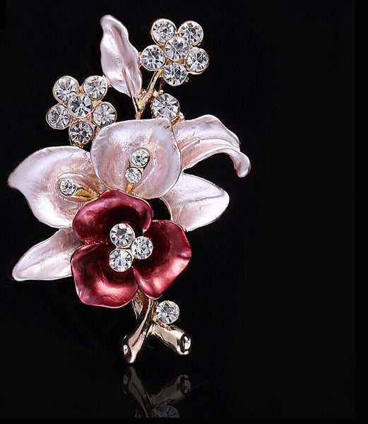 Elegant Crystal Flower Pin
