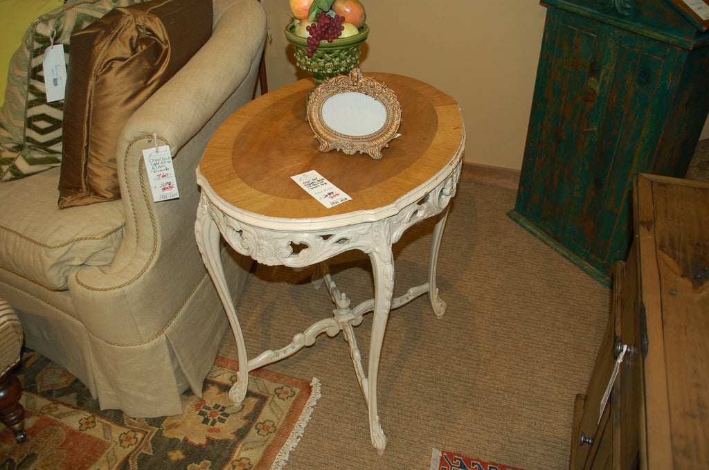 Oval Tall Ornate Side Table With Burled Wood Top