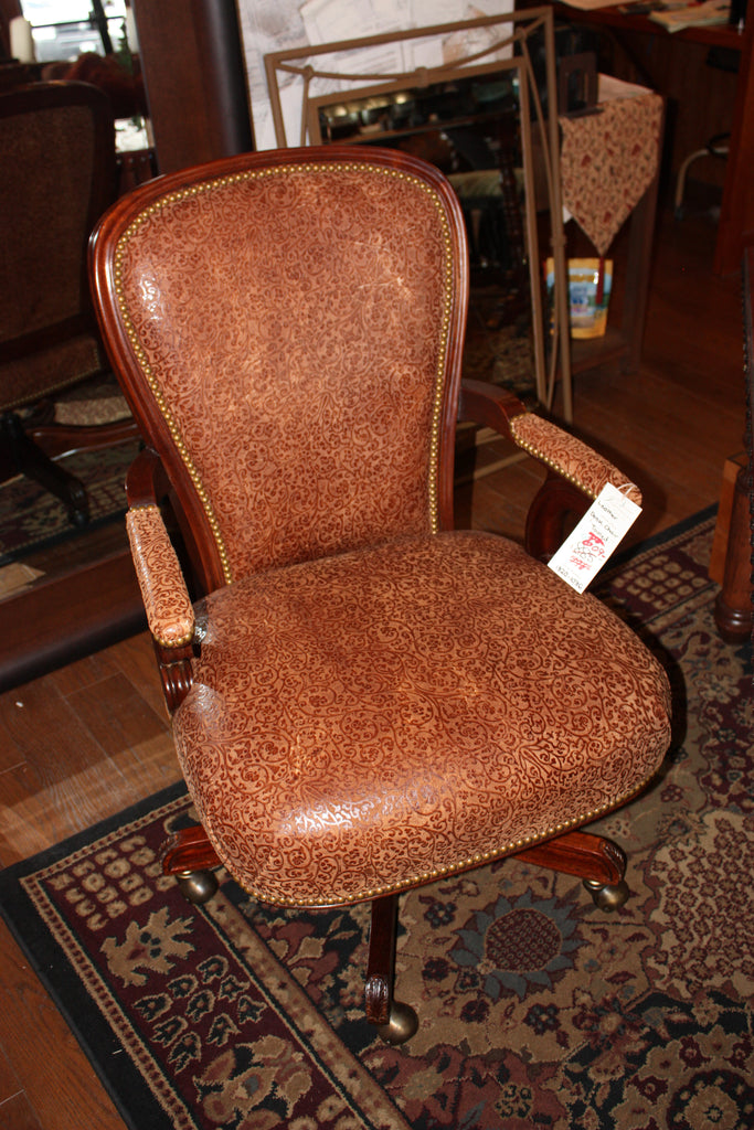leather desk chair. Tooled Leather Desk Chair