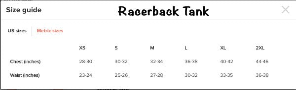 Racerback Tank - Sizing Chart - A TAD AND MORE