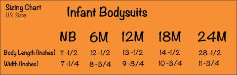 Infant Bodysuits - Size Chart- Rabbit Skins 4400 - A TAD and More Designs